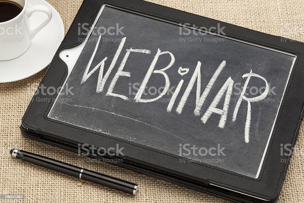 webinar word on digital tablet royalty-free stock photo