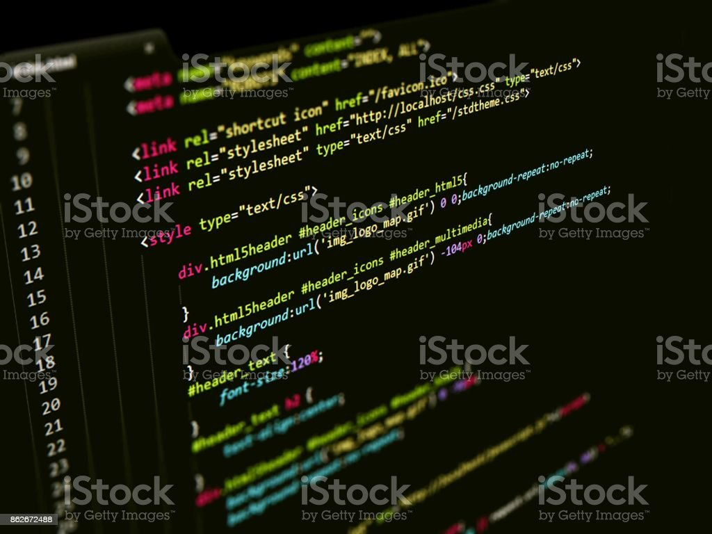 Webpage HTML Code in text editor, Web page Internet Technology stock photo
