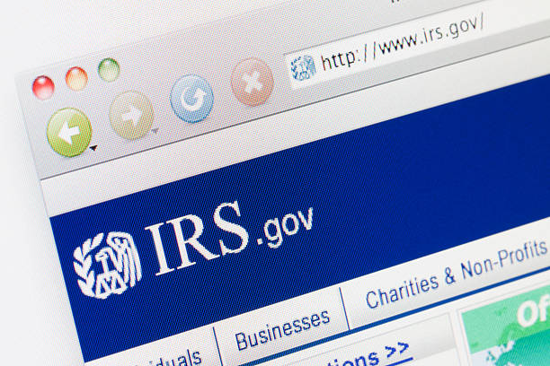 IRS Webpage on a web browser. stock photo