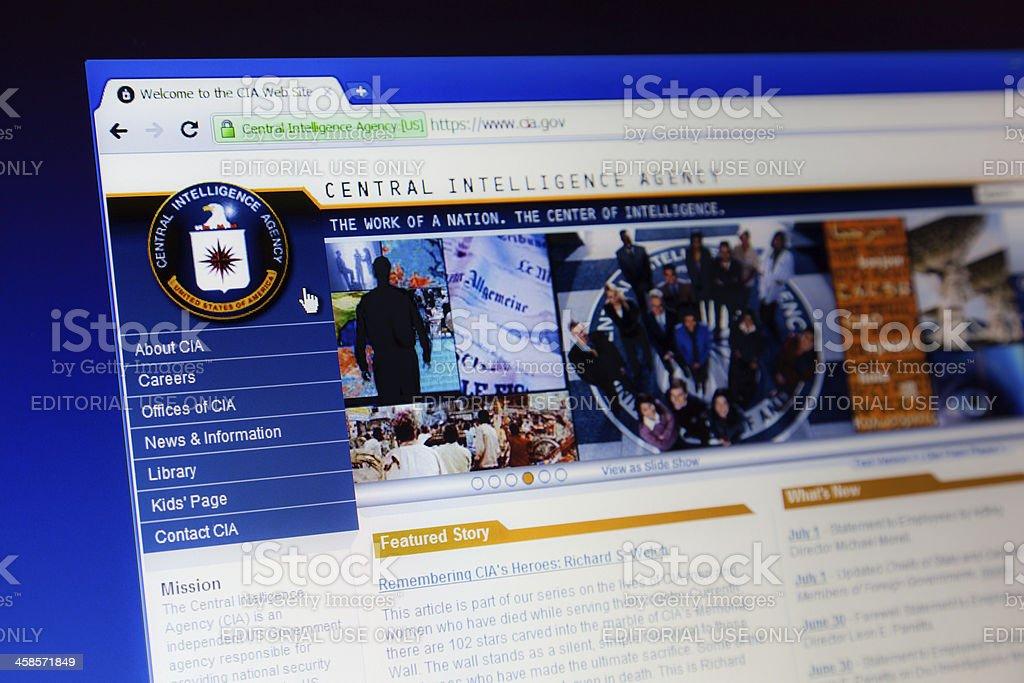 CIA webpage on computer screen. stock photo