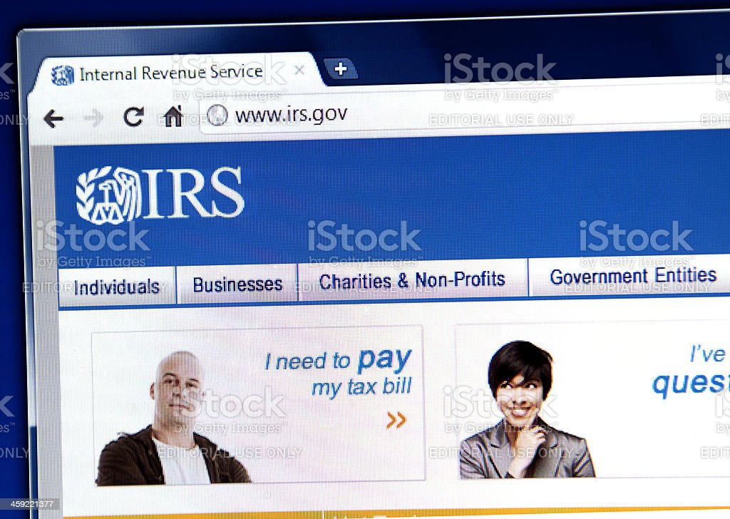IRS webpage on the browser stock photo