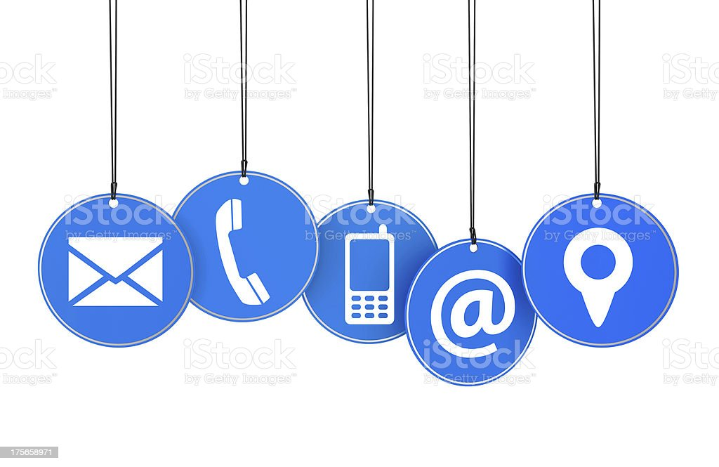 Website Contact Page Icons Concept royalty-free stock photo