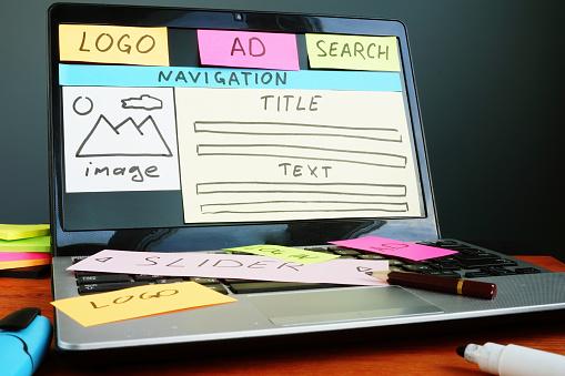 Website creative plan development with drawn sketch in the design studio.