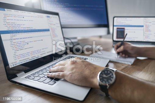 832125010 istock photo Website design. Developing programming and coding technologies. 1196702236