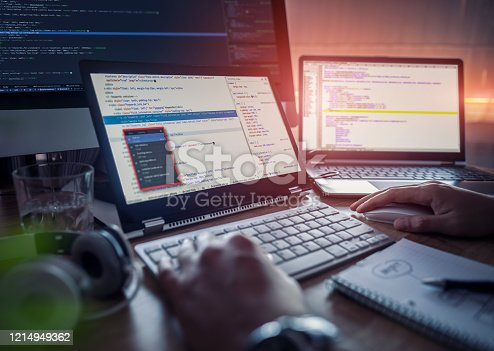 1170085960 istock photo Website design. Developing programming and coding technologies. 1214949362