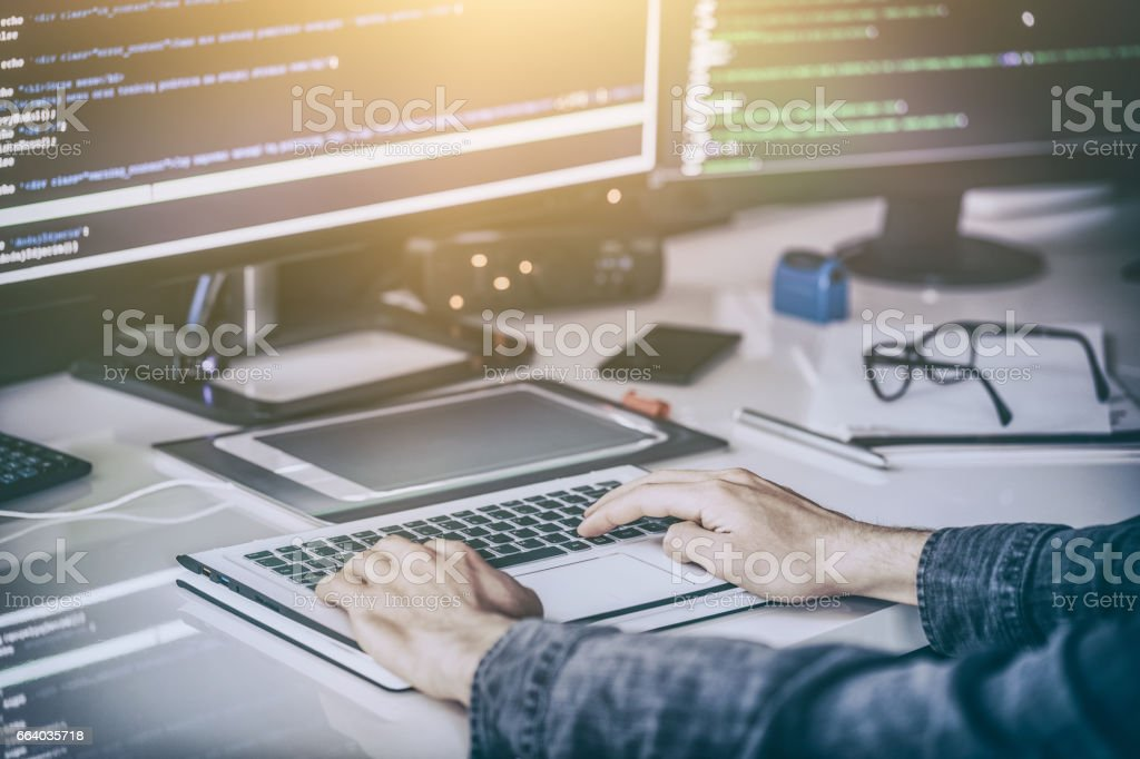 Website design. Developing programming and coding technologies. - Royalty-free Binary Code Stock Photo