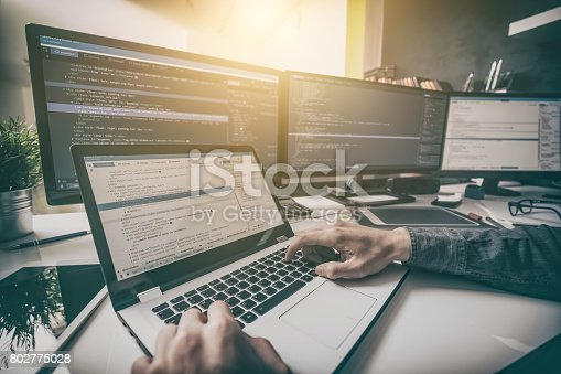 1076169884 istock photo Website design. Developing programming and coding technologies. 802775028