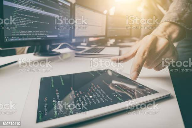 Website Design Developing Programming And Coding Technologies Stock Photo - Download Image Now