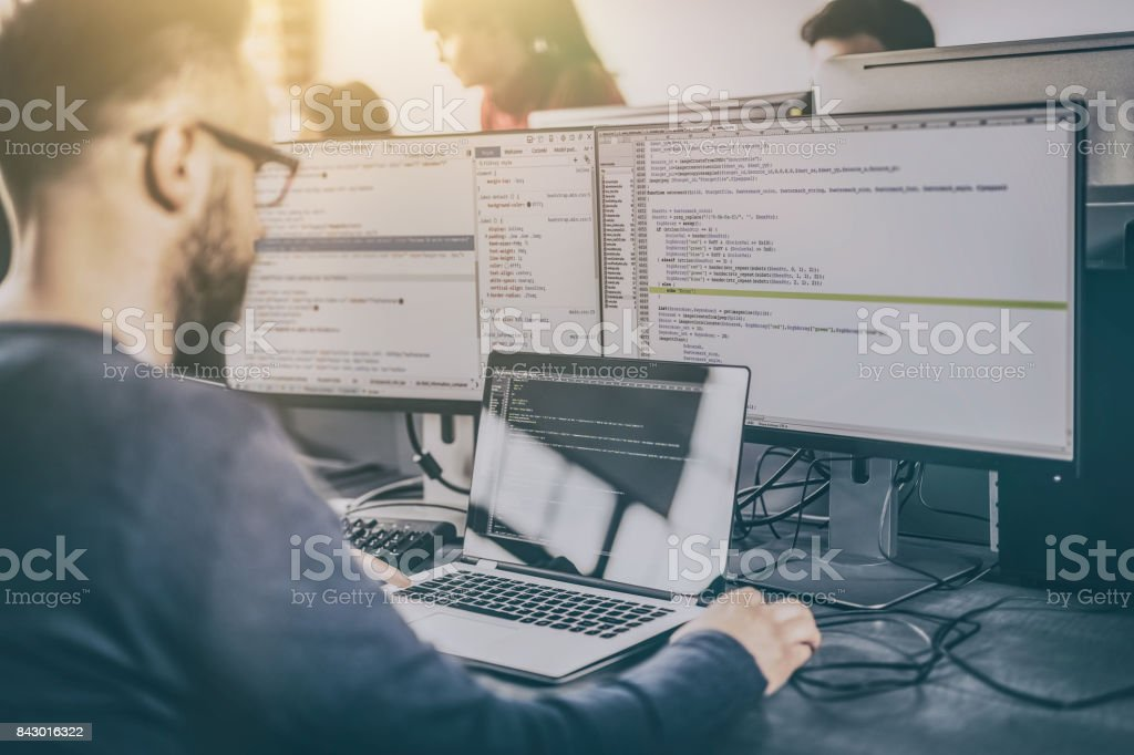 Website design. Developing programming and coding technologies. - Royalty-free Analyzing Stock Photo