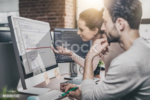 istock Website design. Developing programming and coding technologies. 853580100