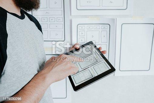 UX website design wireframe. Sketch, prototype, framework, layout future design project. UI/UX - user interface, user experience designer. Creative concept for web design studio. Website development