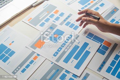Website designer Creative planning application developer development draft sketch drawing template layout prototype framework wireframe design studio . User experience concept .