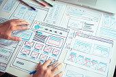 istock Website designer Creative planning application developer development draft sketch drawing template layout prototype framework wireframe design studio . User experience concept . 1206638576