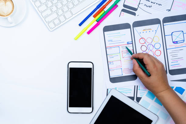 website-designer kreative planung anwendung entwicklung entwurf skizzieren zeichnung vorlage layout framework wireframe-design-studio. user-erlebnis-konzept. - webdesigner stock-fotos und bilder