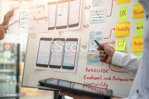 istock Website designer development UI/UX design about sketched notes wireframe layout mobile application project. User experience concept. 1140365617