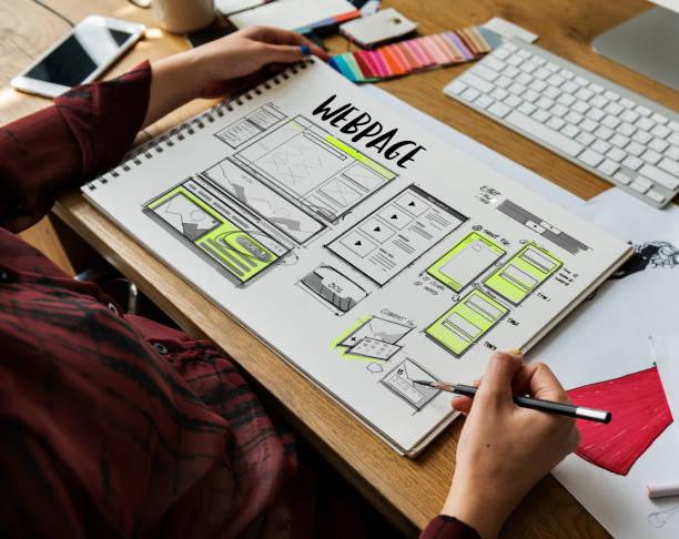 website-entwicklung-layout-skizze zeichnen - startseite stock-fotos und bilder