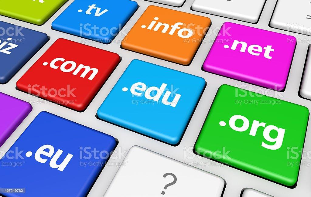 Website Domain Name Sign Keyboard stock photo