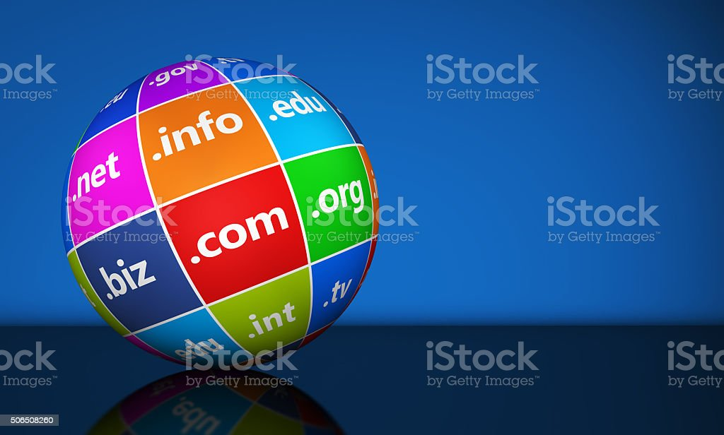 Website Domain Names Sign Globe stock photo