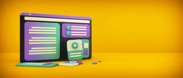 concepto de diseño de interfaz de sitio web - website design fotografías e imágenes de stock