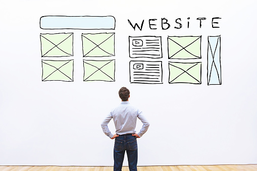 website layout, sketch web design of homepage on white background