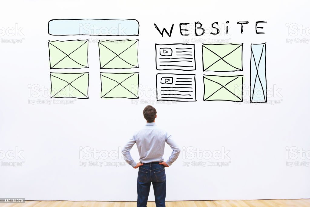 website layout, sketch web design of homepage stock photo
