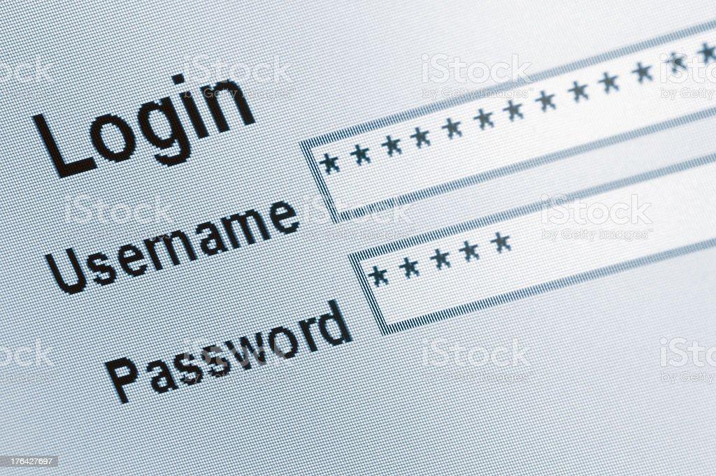 Website Login Screen Macro Capture, password username internet web security stock photo