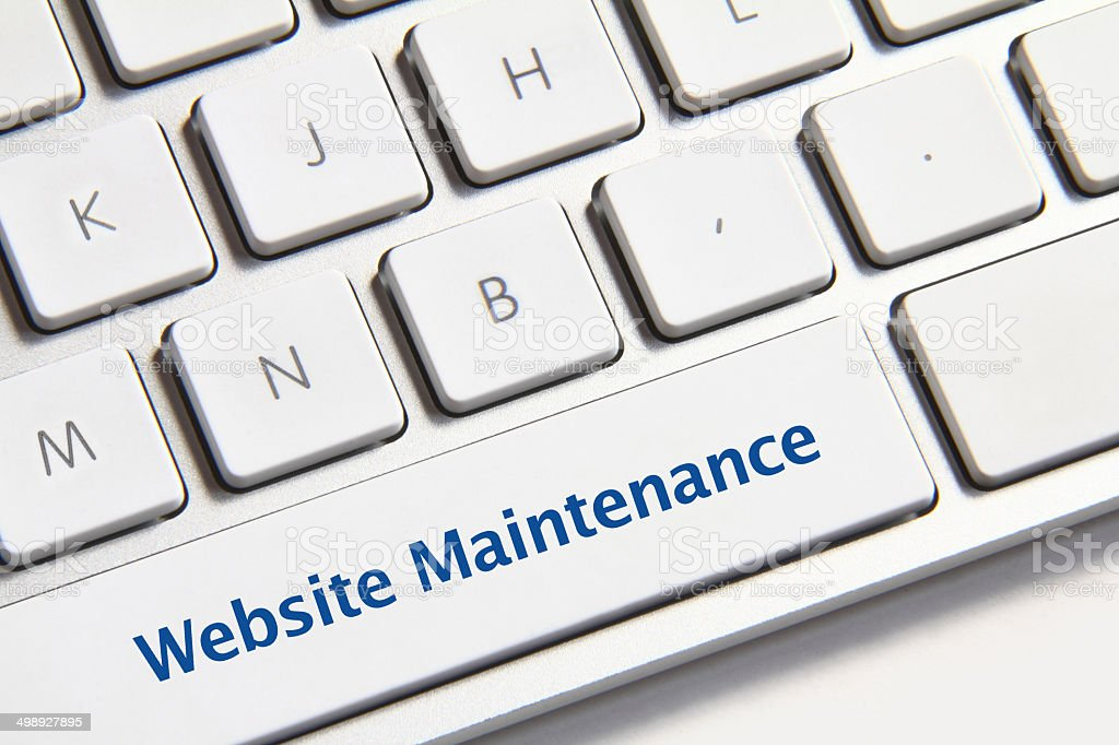 Website maintenance button stock photo
