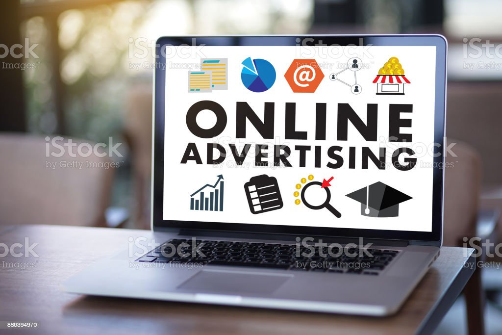 ONLINE ADVERTISING Website Marketing , Update Trends Advertising , Online Business Content Strategy stock photo