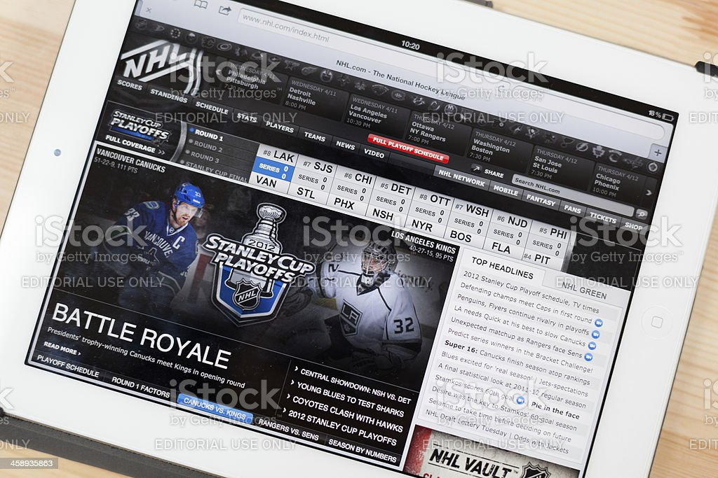 NHL Website on iPad stock photo
