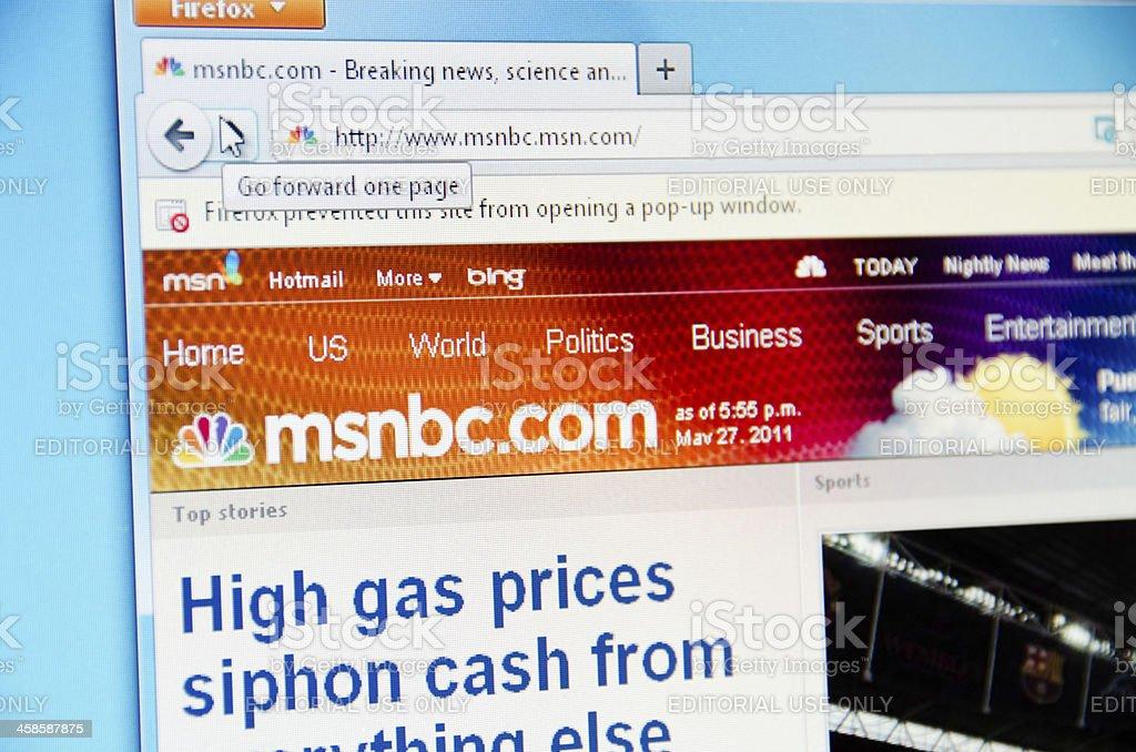 MSNBC website stock photo