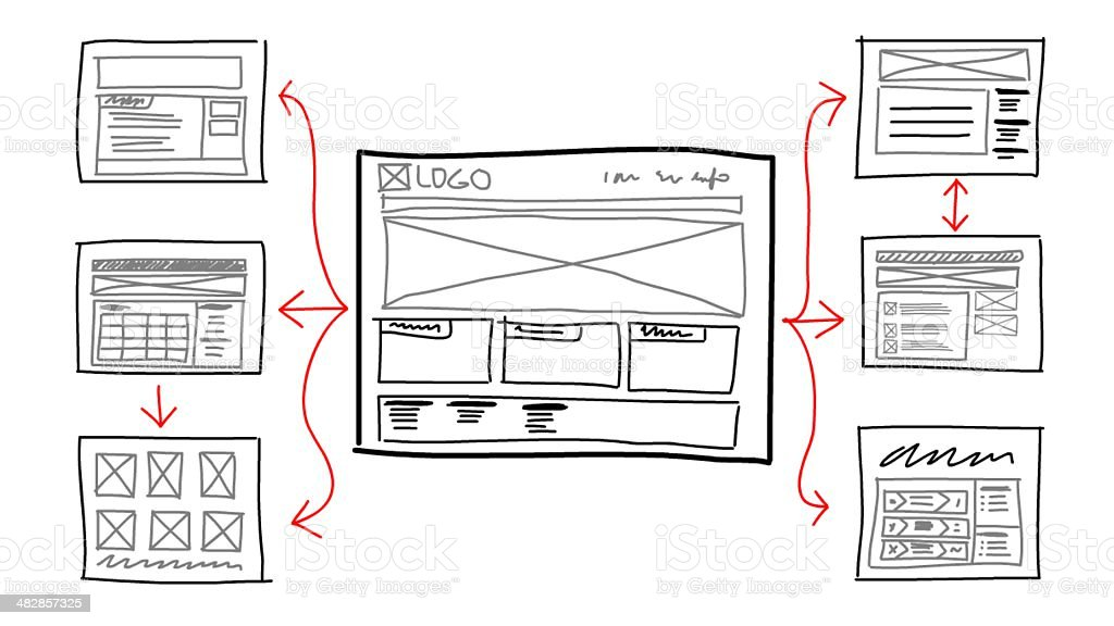 website sketch mockup stock photo