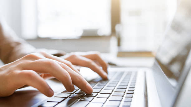 website technical content writer social blogging Website technical content writer. Network service. Social media blogging. Closeup of hands typing on laptop, creating new article. website stock pictures, royalty-free photos & images