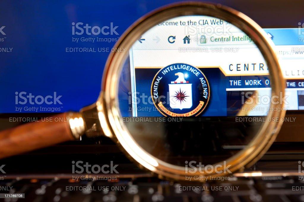 CIA website through a magnifying glass stock photo