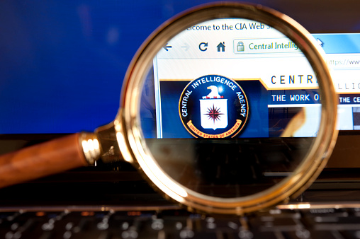 Cia Website Through A Magnifying Glass Stock Photo - Download Image Now