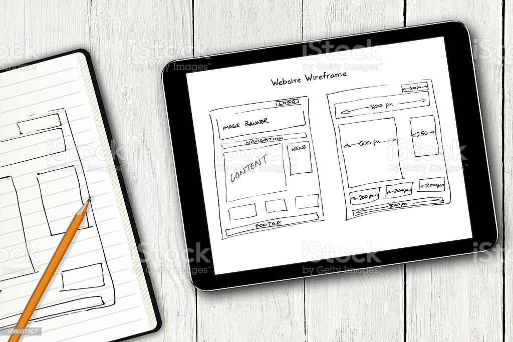 website wireframe sketch on digital tablet screen stock photo