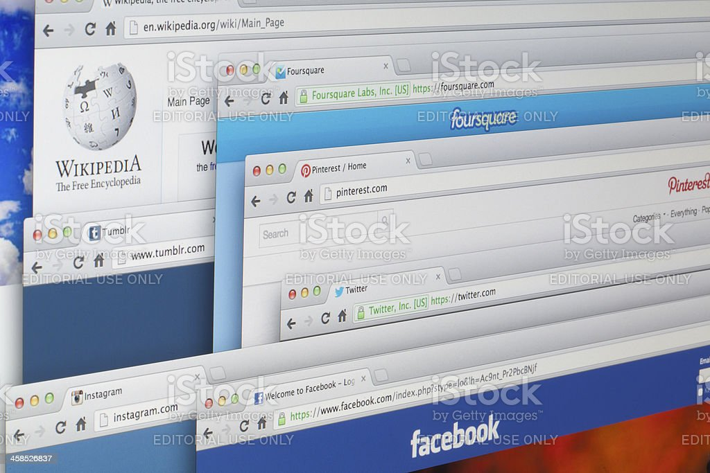 Websites on lcd screen stock photo