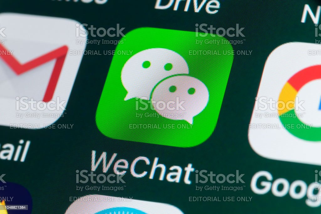 Wechat Google Gmail And Other Apps On Iphone Screen Stock