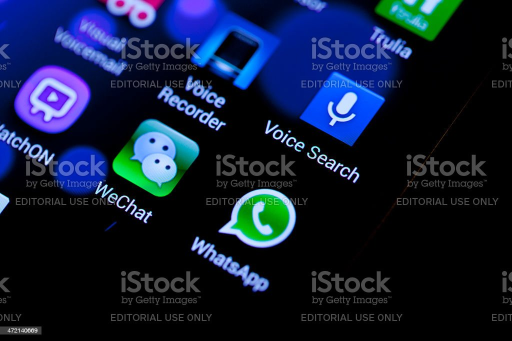 WeChat with some other mobile app stock photo