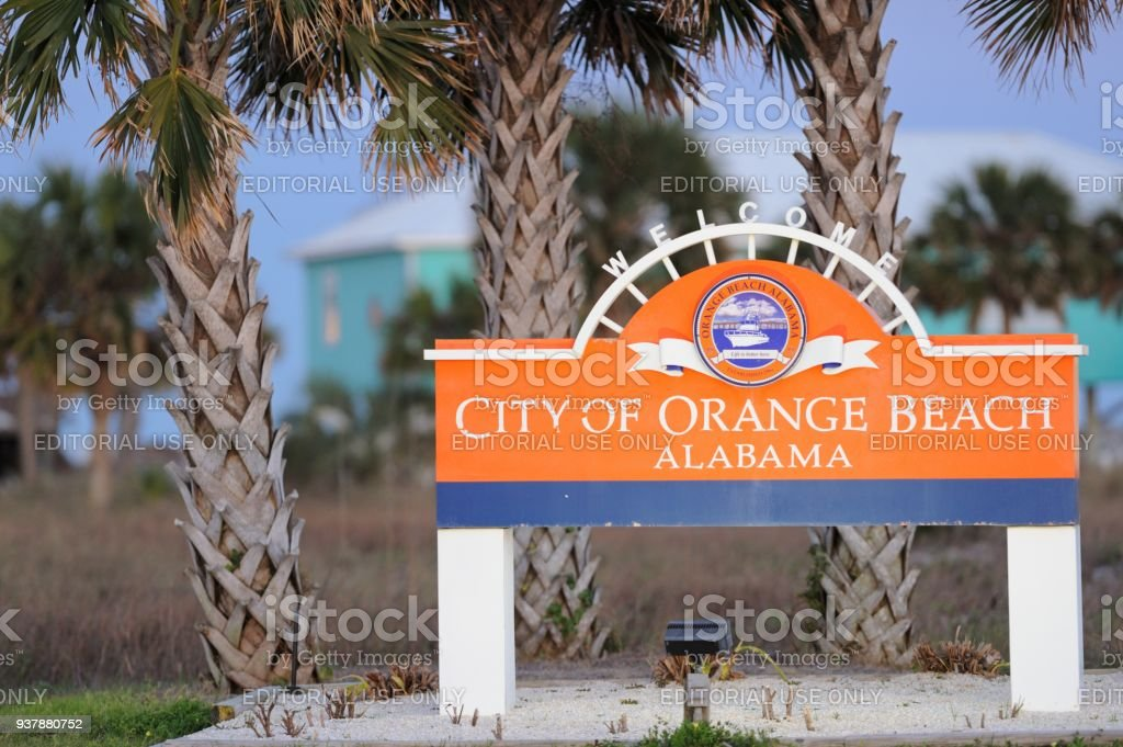 Weclome City of Orange Beach Alabama sign on roadway stock photo