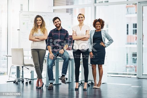 Portrait of a group of businesspeople standing in an office