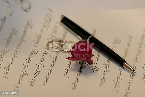 istock Wedding Accessories invitation rings rose and pen 474394252