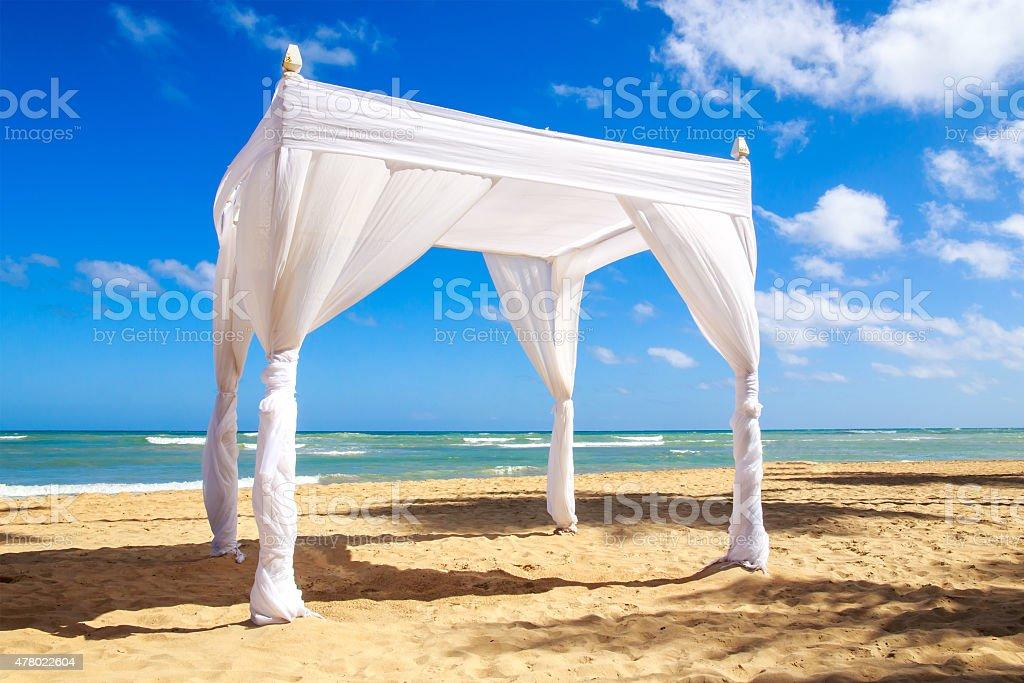 Wedding altar on the beach stock photo