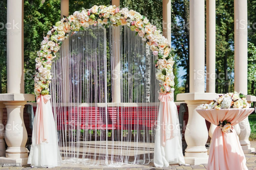 Wedding altar with flowers stock photo