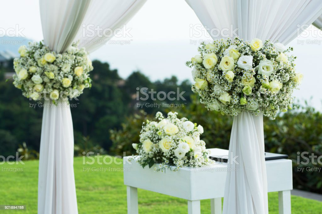 Wedding Arch Decorated With White And Green Flowers Outdoors ...