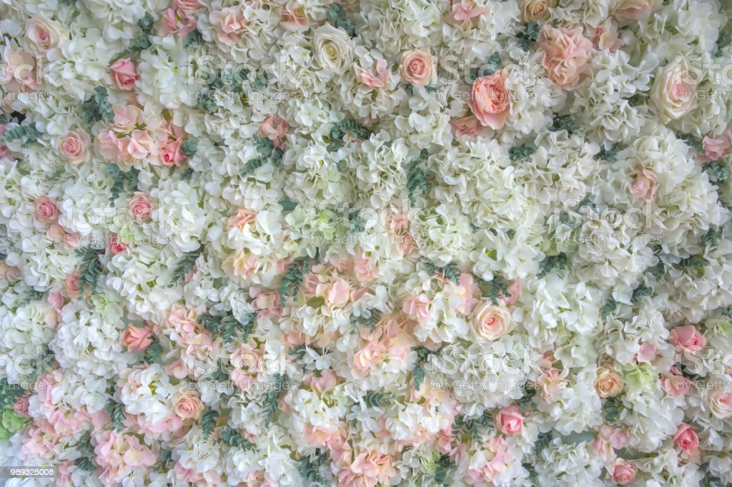 Wedding background of fresh flowers of white and pink roses. Can be...