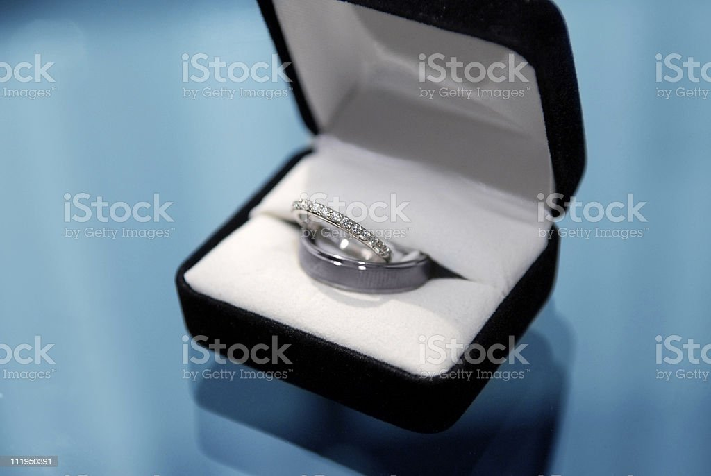 A bride and groom\'s wedding bands in a ring box