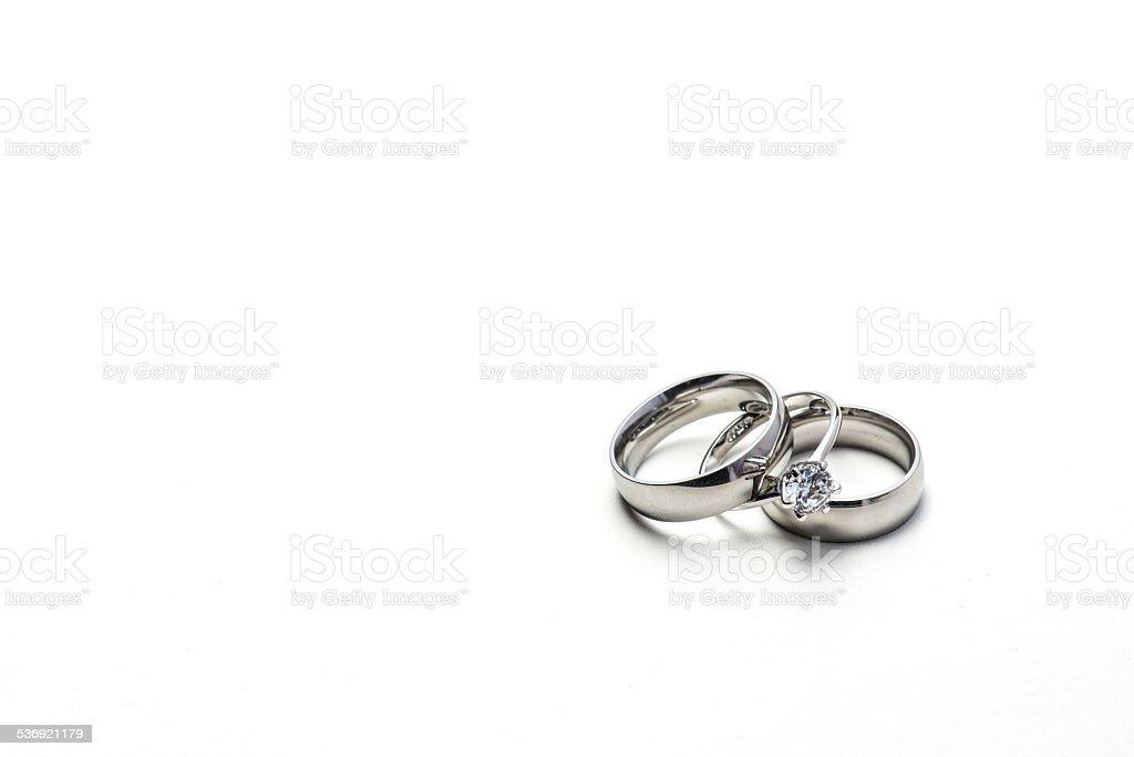 Wedding banks with diamond ring stock photo