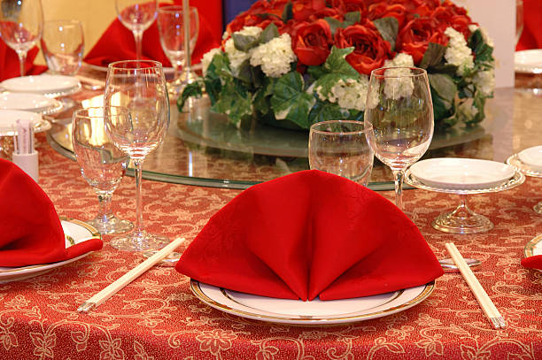Wedding banquet table details  chinese wedding dinner stock pictures, royalty-free photos & images