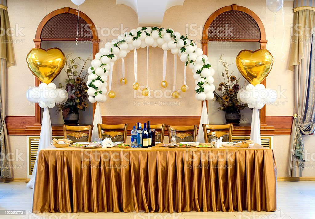 wedding banquet table stock photo