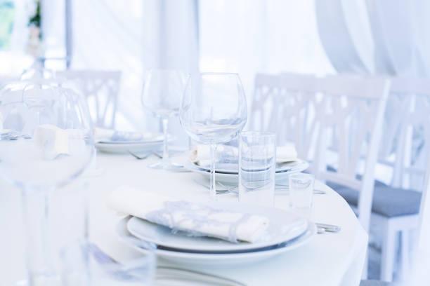 Hochzeitsbankett. Tischset für Hochzeitsempfang – Foto